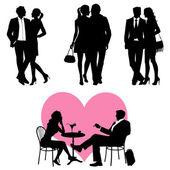 Bir sürü, romantik çift, siluet - vektör set — Stok Vektör