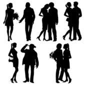 çok - çift romantik, siluet, vektör set — Stok Vektör