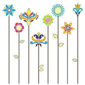 Tle kwiatów, kwitnące kwiaty - haft ludowy — Wektor stockowy