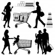 Royalty-Free Stock Vector Image: Several people, shopping - vector silhouettes