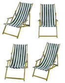 Deckchairs isolated on white with clipping path — Stock Photo