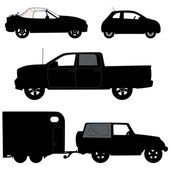 Transportation icons collection - vector silhouette — Stock Vector