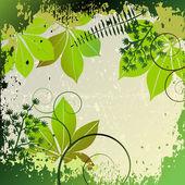 гранж кадр с элементами растений — Cтоковый вектор