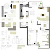 Vecteur projection plane avec des meubles. définir. l'échelle 1:10 — Vecteur
