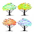 Abstract tree - graphic elements - Four Seasons — Vettoriali Stock