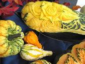 Autumn pumpkins, folk art, sculptures — Stock Photo