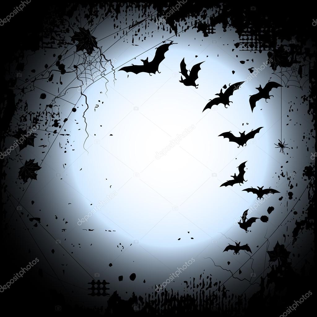 Halloween-Hintergrund mit Vollmond und Fledermäuse ...