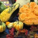Autumn pumpkins, folk art, sculptures — Stock Photo #31693107