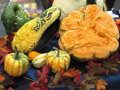 Autumn pumpkins, folk art, sculptures — Stock Photo