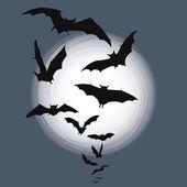 Fondo halloween - vuelan murciélagos en luna llena — Vector de stock