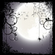Halloween background. Full moon and a cobweb — Stock Vector