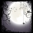 Stock Vector: Halloween background. Full moon and cobweb