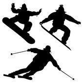 Collection. Snowboarders And A Skier — Stock Vector