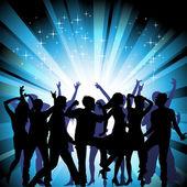 Bir grup insan disko eğleniyor. kalabalık infront — Vector de stock