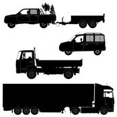 Transportation icons collection - vector silhouette. Working car — Stock Vector