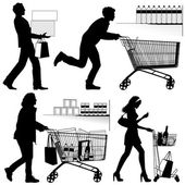Several people, shopping - vector silhouettes — Vetorial Stock