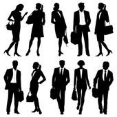 Business people - global team - vector silhouettes — Vettoriale Stock