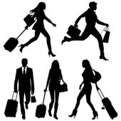 People in a hurry - vector silhouettes. — Stock Vector