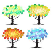 Abstract tree - graphic elements - Four Seasons — Stock Vector