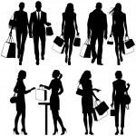 Several , shopping - vector silhouettes — Stock Vector #5870725