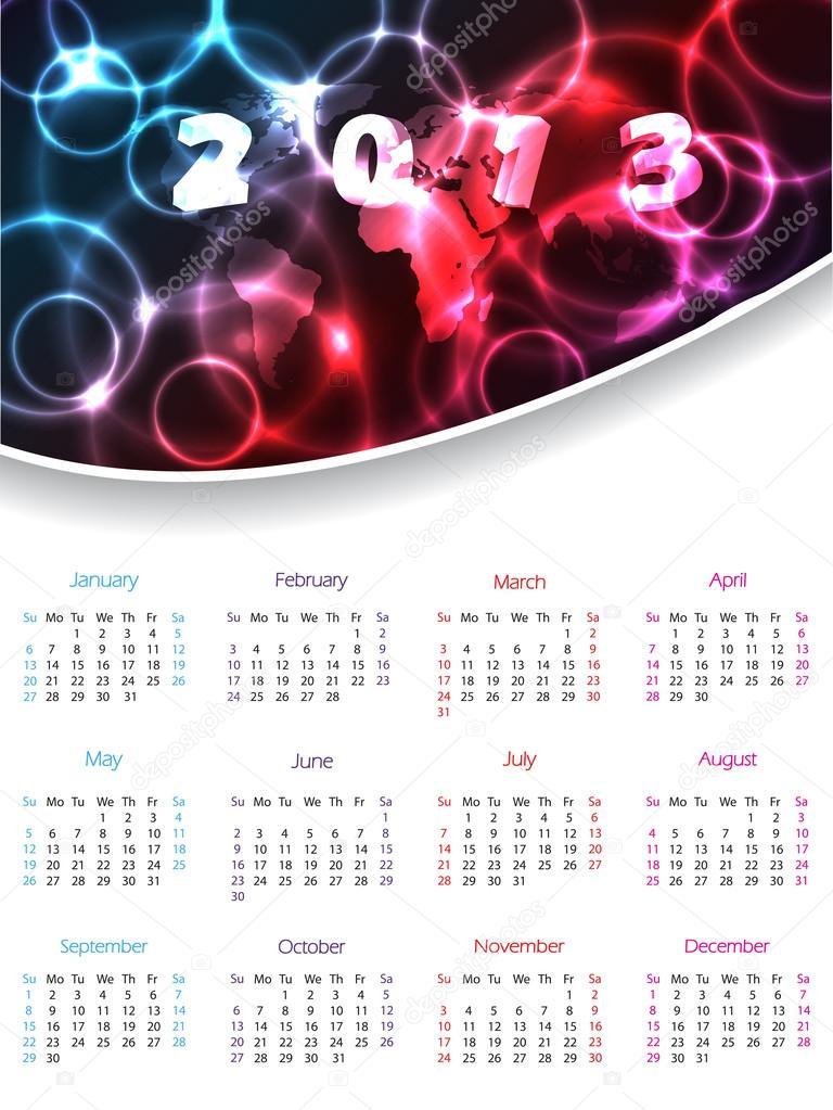 Calendar Header Design : Calendar design with plasma header stock illustration