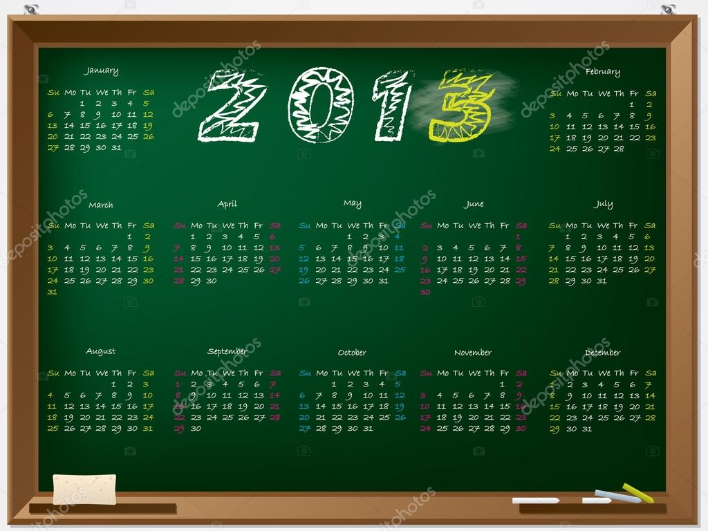 2013 calendar hand drawn on chalkboard — Stock Vector #12093650