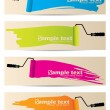 Banner set of four with paint rollers — Stock Vector #12218022