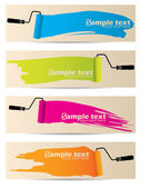 Banner set of four with paint rollers — Stock Vector