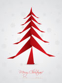 Christmas greeting design with origami tree — Stock Vector