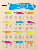 Painted 2013 calendar design — Stock Vector
