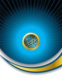 Abstract blue brochure with hexagon button — Stock Vector