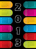 2013 calendar on dark background — Stock Vector