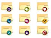Folder icon set of 9 — Stock Vector