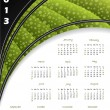 2013 green striped calendar — Stock Vector