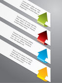 Etiqueta de publicidad con flechas de color — Vector de stock