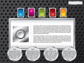 Modelo de tecnologia da web com botões de cor — Vetorial Stock
