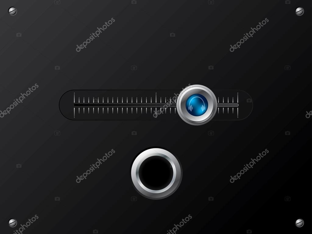 Slideable blue volume knob for outer headphone — Stock Vector #13289586