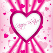 Pink valentine greeting card design — Stock Vector