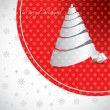 Dotted christmas background design with white tree — Imagen vectorial