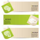 Banners with attached notepapers — Stockvector