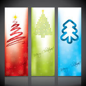 Christmas banners with various christmas tree designs — Stock Vector