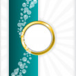 Turquoise bubbled brochure with golden ring — Stock Vector