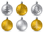 Cool christmas decorations in gold and silver — Stock Vector