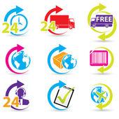 Posta ücreti ve destek'i simgeleri ile ilgili — Stok Vektör