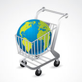 Shopping cart carrying the globe — Stock Vector