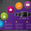 Website template design with colorful stickers - Imagens vectoriais em stock