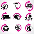 Stock Vector: Various postage and support related icons