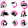 Various postage and support related icons - Stock vektor