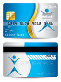 Credit card with gold wave and origami person — Stock Vector