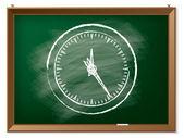 Clock drawn on chalkboard — Stock Vector